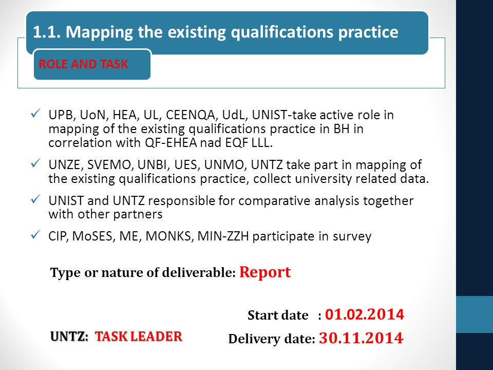 UPB, UoN, HEA, UL, CEENQA, UdL, UNIST-take active role in mapping of the existing qualifications practice in BH in correlation with QF-EHEA nad EQF LL