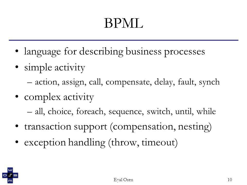Eyal Oren10 BPML language for describing business processes simple activity –action, assign, call, compensate, delay, fault, synch complex activity –all, choice, foreach, sequence, switch, until, while transaction support (compensation, nesting) exception handling (throw, timeout)