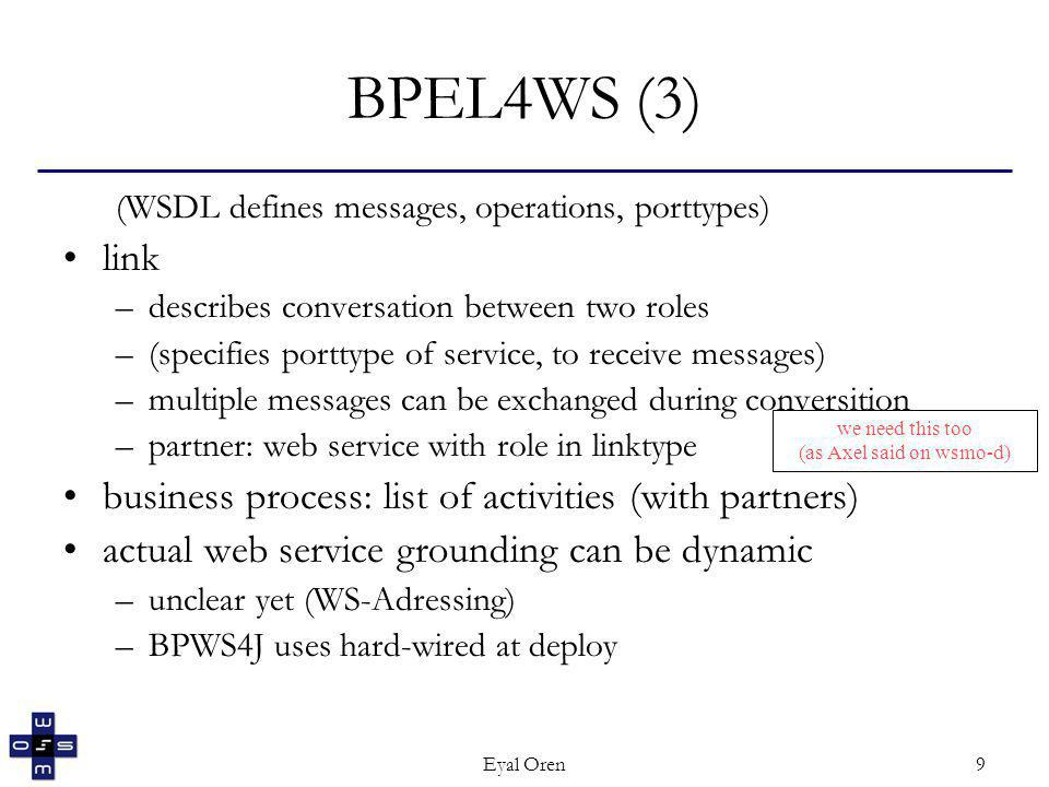 Eyal Oren9 BPEL4WS (3) (WSDL defines messages, operations, porttypes) link –describes conversation between two roles –(specifies porttype of service, to receive messages) –multiple messages can be exchanged during conversition –partner: web service with role in linktype business process: list of activities (with partners) actual web service grounding can be dynamic –unclear yet (WS-Adressing) –BPWS4J uses hard-wired at deploy we need this too (as Axel said on wsmo-d)