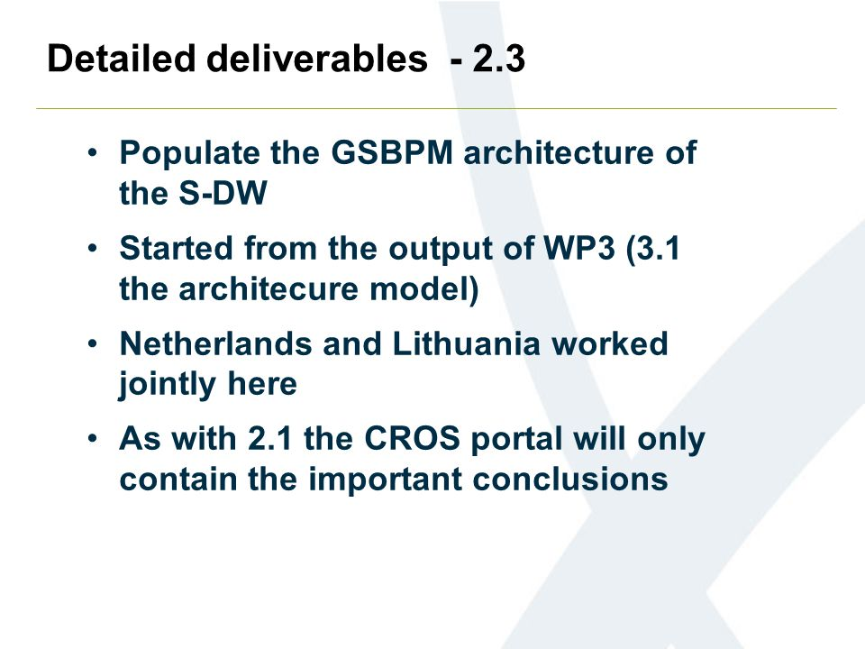 Detailed deliverables - 2.3 Populate the GSBPM architecture of the S-DW Started from the output of WP3 (3.1 the architecure model) Netherlands and Lit