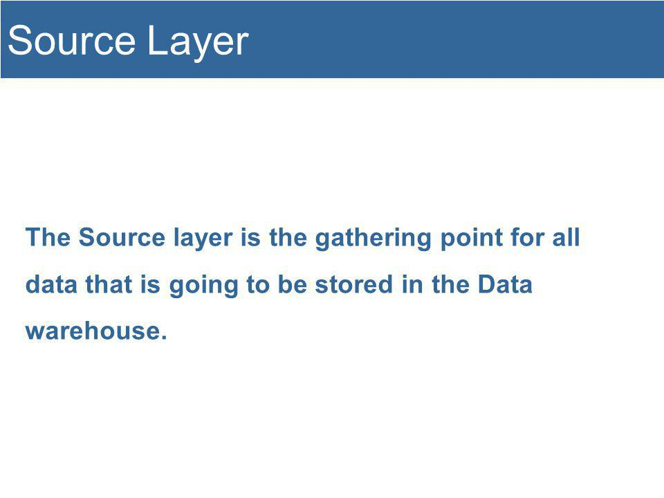The Source layer is the gathering point for all data that is going to be stored in the Data warehouse.