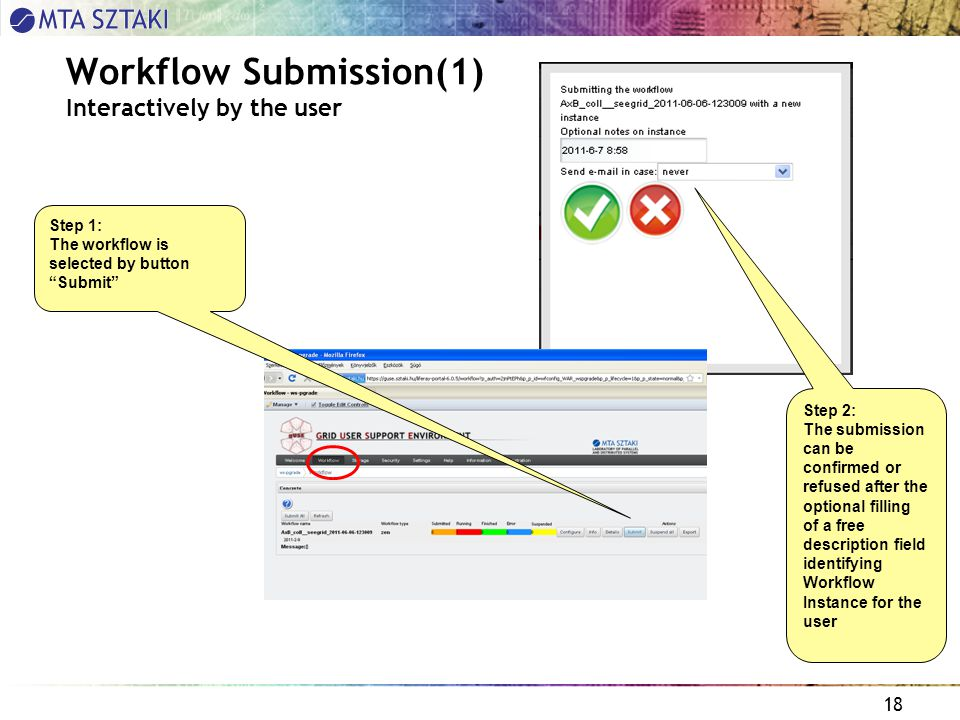 18 Workflow Submission(1) Interactively by the user Step 1: The workflow is selected by button Submit Step 2: The submission can be confirmed or refused after the optional filling of a free description field identifying Workflow Instance for the user