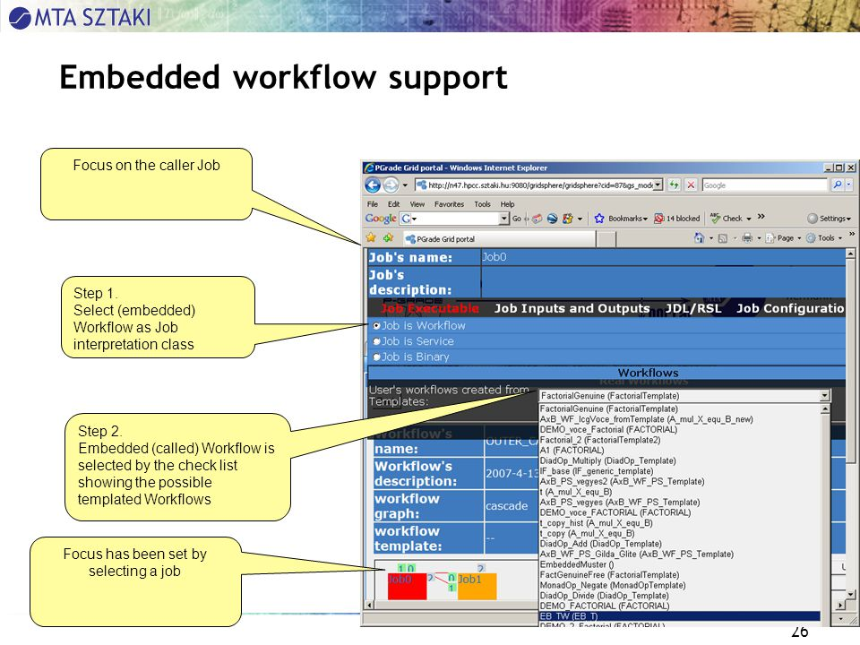 26 Embedded workflow support Focus on the caller Job Step 2.