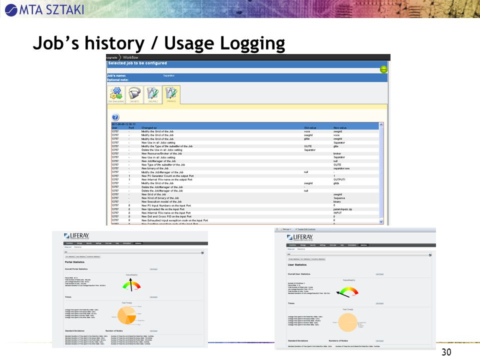 30 Job's history / Usage Logging