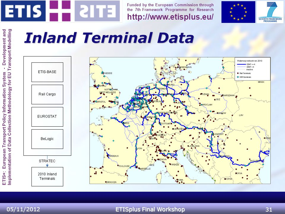 ETIS+: European Transport Policy Information System - Development and Implementation of Data Collection Methodology for EU Transport Modelling Funded by the European Commission through the 7th Framework Programme for Research http://www.etisplus.eu/ Inland Terminal Data 05/11/2012 ETISplus Final Workshop 31