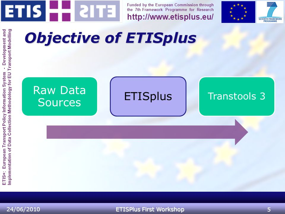 ETIS+: European Transport Policy Information System - Development and Implementation of Data Collection Methodology for EU Transport Modelling Funded by the European Commission through the 7th Framework Programme for Research http://www.etisplus.eu/ Objective of ETISplus 24/06/2010 ETISPlus First Workshop 5 Raw Data Sources ETISplus Transtools 3
