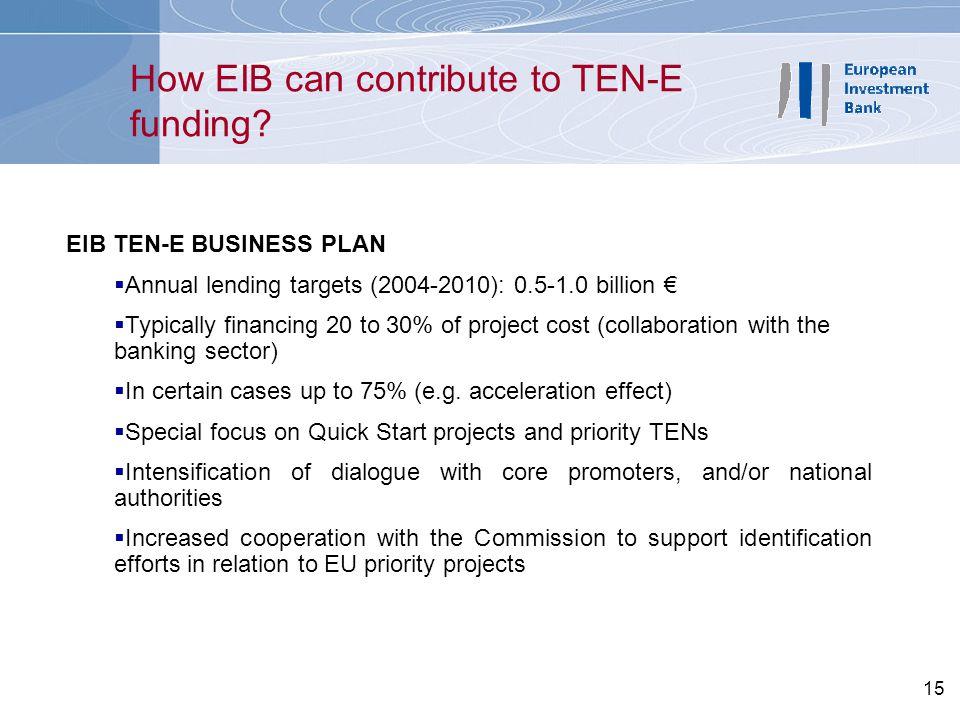 15 How EIB can contribute to TEN-E funding? EIB TEN-E BUSINESS PLAN  Annual lending targets (2004-2010): 0.5-1.0 billion €  Typically financing 20 t