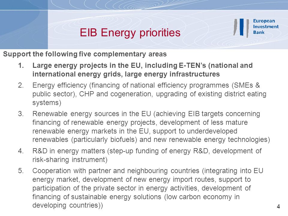 5 EIB Energy lending (1) Over 2000-2005, Annual Bank lending for energy projects in the EU has been in the order of 3.3 bn, representing 9% of total lending in the EU
