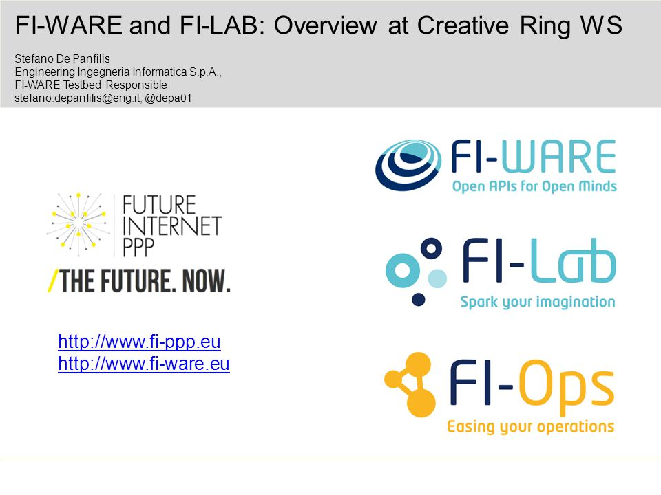 FI-WARE and FI-Lab for the Creative Ring  The Creative Ring (http://www.specifi.eu/): The Creative Rings will be embodied through sets of open APIs that enable easy creative development by creative industry SMEs and individuals, the integration and interworking of IoT, NGA and creative content creation and management components, and concrete solutions for application and content adaptation and customisation .