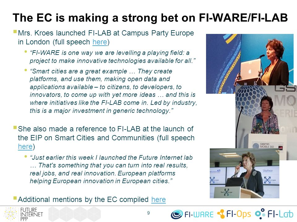 The EC is making a strong bet on FI-WARE/FI-LAB  Mrs.