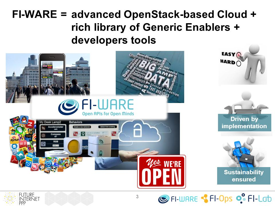 FI-WARE: Targeting developers needs WhatHow 4 Security Enablers Ensuring Privacy, Security and Trust Business & Delivery Framework (revenue-share, cross-selling, …) Reach target users, monetize Connect apps to the physical world Benefit from open innovation (crowd-sourcing, apps composition) Manage open data at large scale and transform it into knowledge Integration and Composition Enablers IoT-M2M Enablers Data/Context Enablers Take the most of infrastructures while keeping costs lower and under control Advanced Cloud Enablers access from everywhere, adapt to devices Enablers easing interface to Network and Devices Rich web-based User Experience Advanced UI Enablers Developer Community and Tools