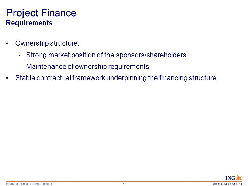 Structured Finance – Natural Resources 12 Project Finance Requirements Ownership structure: -Strong market position of the sponsors/shareholders -Main
