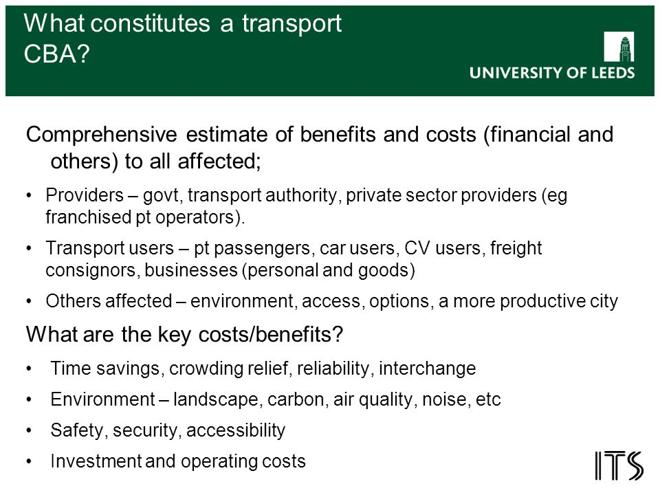 What constitutes a transport CBA.