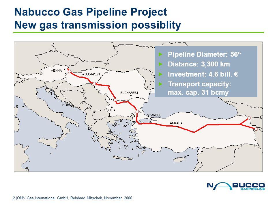 13 |OMV Gas International GmbH, Reinhard Mitschek, November 2006 Contact Nabucco Gas Pipeline International GmbH floridotower Floridsdorfer Haupstraße 1; 1210 Vienna Austria Reinhard Mitschek Tel.