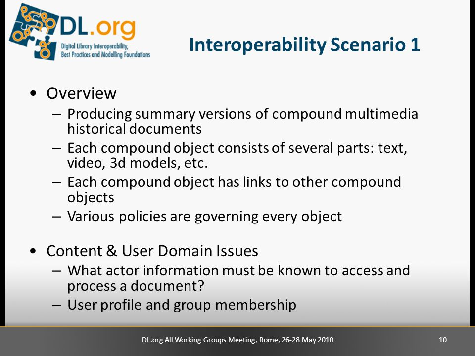 Interoperability Scenario 1 Overview – Producing summary versions of compound multimedia historical documents – Each compound object consists of sever