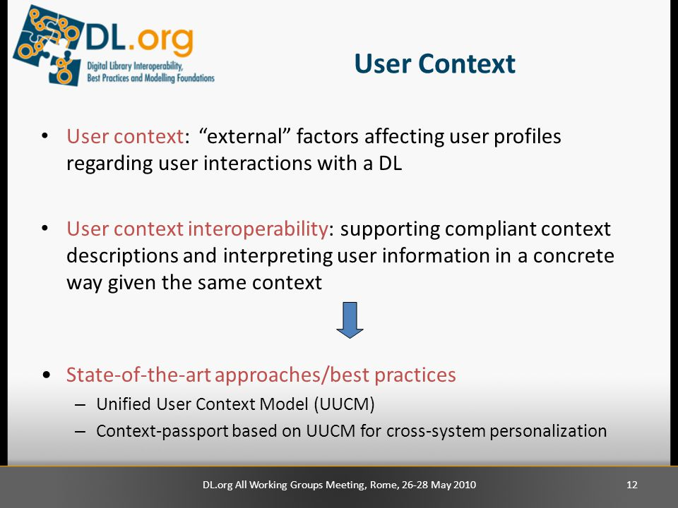 User Context User context: external factors affecting user profiles regarding user interactions with a DL User context interoperability: supporting compliant context descriptions and interpreting user information in a concrete way given the same context State-of-the-art approaches/best practices – Unified User Context Model (UUCM) – Context-passport based on UUCM for cross-system personalization 12DL.org All Working Groups Meeting, Rome, 26-28 May 2010