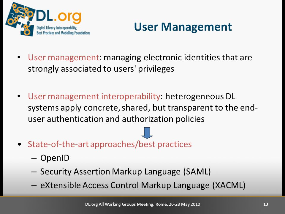 13 User Management User management: managing electronic identities that are strongly associated to users privileges User management interoperability: heterogeneous DL systems apply concrete, shared, but transparent to the end- user authentication and authorization policies State-of-the-art approaches/best practices – OpenID – Security Assertion Markup Language (SAML) – eXtensible Access Control Markup Language (XACML) DL.org All Working Groups Meeting, Rome, 26-28 May 2010