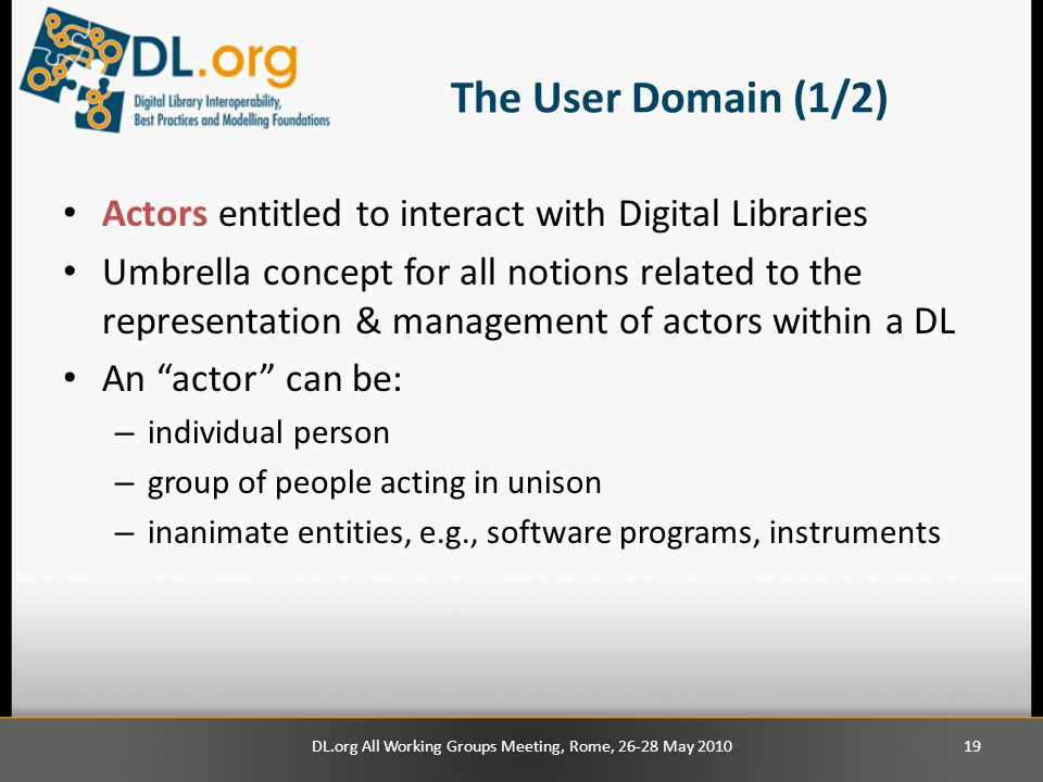 The User Domain (1/2) Actors entitled to interact with Digital Libraries Umbrella concept for all notions related to the representation & management of actors within a DL An actor can be: – individual person – group of people acting in unison – inanimate entities, e.g., software programs, instruments 19DL.org All Working Groups Meeting, Rome, 26-28 May 2010