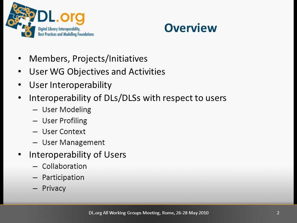 Overview Members, Projects/Initiatives User WG Objectives and Activities User Interoperability Interoperability of DLs/DLSs with respect to users – User Modeling – User Profiling – User Context – User Management Interoperability of Users – Collaboration – Participation – Privacy DL.org All Working Groups Meeting, Rome, 26-28 May 20102