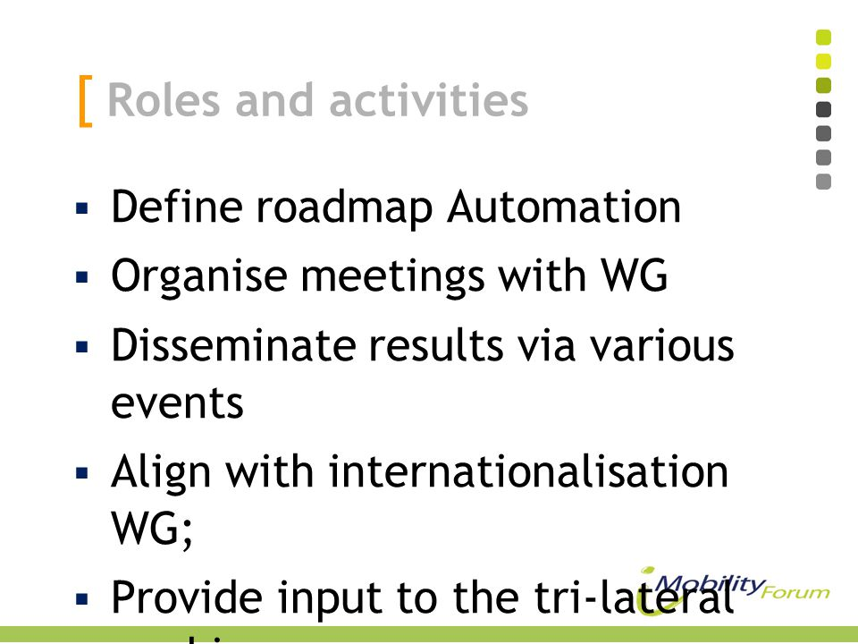 [ Roles and activities  Define roadmap Automation  Organise meetings with WG  Disseminate results via various events  Align with internationalisat