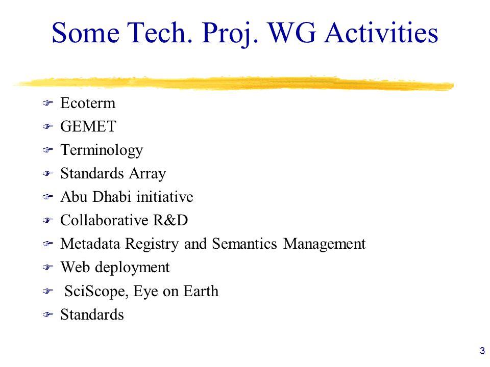 Some Tech. Proj. WG Activities F Ecoterm F GEMET F Terminology F Standards Array F Abu Dhabi initiative F Collaborative R&D F Metadata Registry and Se