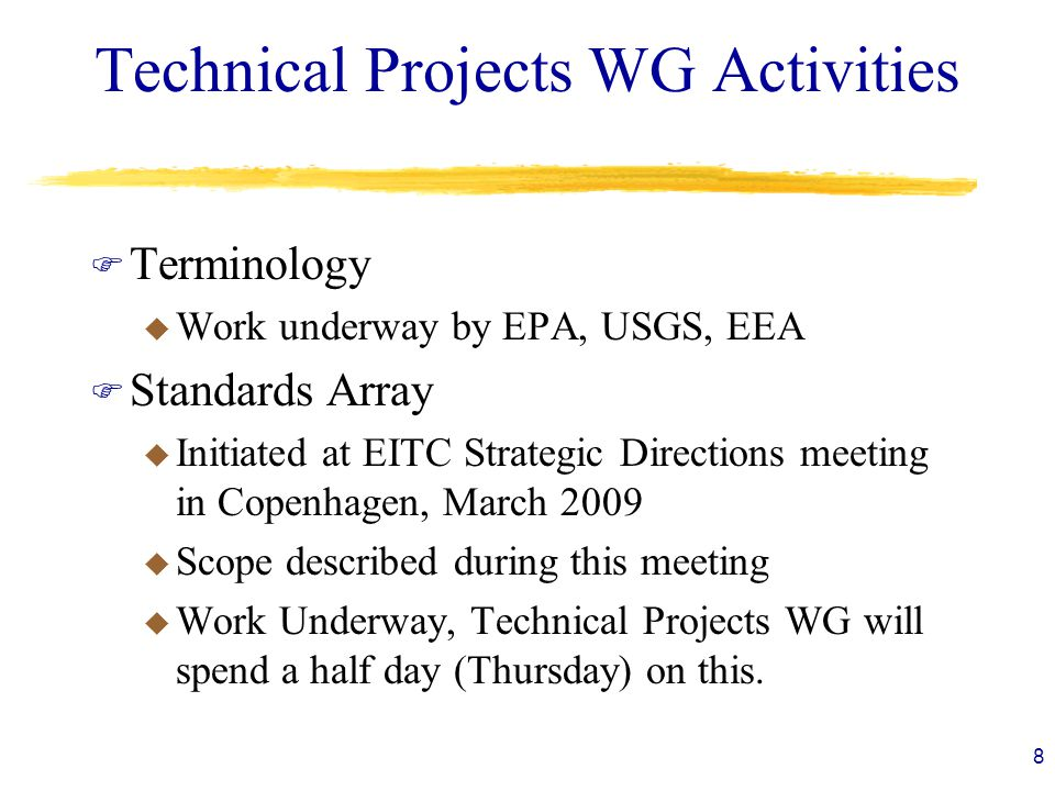 Technical Projects WG Activities F Terminology u Work underway by EPA, USGS, EEA F Standards Array u Initiated at EITC Strategic Directions meeting in Copenhagen, March 2009 u Scope described during this meeting u Work Underway, Technical Projects WG will spend a half day (Thursday) on this.