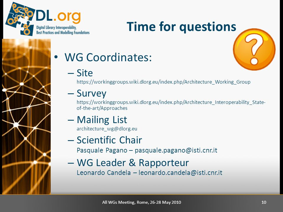 Time for questions WG Coordinates: – Site https://workinggroups.wiki.dlorg.eu/index.php/Architecture_Working_Group – Survey https://workinggroups.wiki.dlorg.eu/index.php/Architecture_Interoperability_State- of-the-art/Approaches – Mailing List architecture_wg@dlorg.eu – Scientific Chair Pasquale Pagano – pasquale.pagano@isti.cnr.it – WG Leader & Rapporteur Leonardo Candela – leonardo.candela@isti.cnr.it All WGs Meeting, Rome, 26-28 May 201010