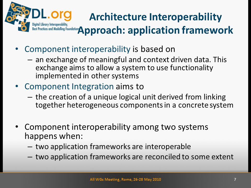 Architecture Interoperability Approach: application framework Component interoperability is based on – an exchange of meaningful and context driven data.