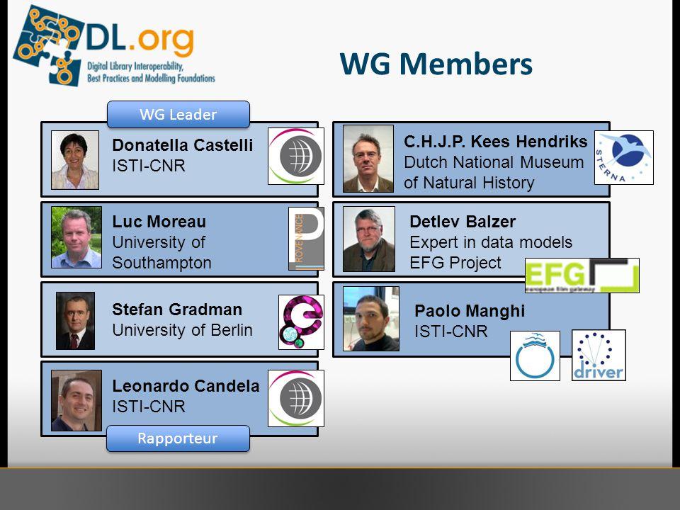 WG Members Donatella Castelli ISTI-CNR Luc Moreau University of Southampton Leonardo Candela ISTI-CNR Paolo Manghi ISTI-CNR Stefan Gradman University of Berlin C.H.J.P.