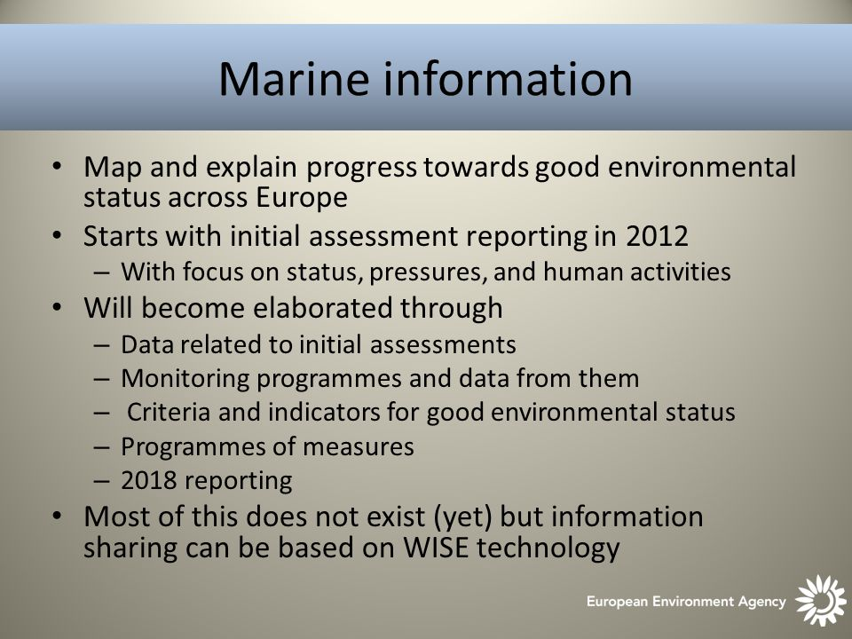 Marine information Map and explain progress towards good environmental status across Europe Starts with initial assessment reporting in 2012 – With focus on status, pressures, and human activities Will become elaborated through – Data related to initial assessments – Monitoring programmes and data from them – Criteria and indicators for good environmental status – Programmes of measures – 2018 reporting Most of this does not exist (yet) but information sharing can be based on WISE technology