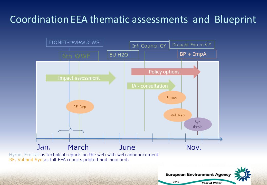 Coordination EEA thematic assessments and Blueprint 6 EU H2O 6th WWF Impact assessment IA - consultation RE Rep Syn thesis Jan.