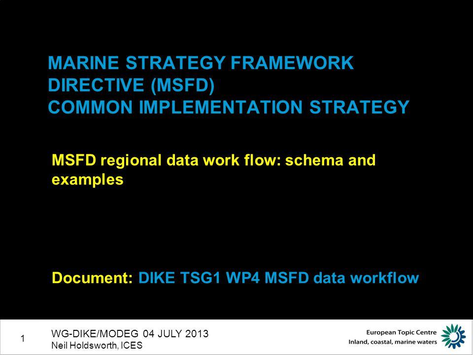 1 MARINE STRATEGY FRAMEWORK DIRECTIVE (MSFD) COMMON IMPLEMENTATION STRATEGY MSFD regional data work flow: schema and examples Document: DIKE TSG1 WP4 MSFD data workflow WG-DIKE/MODEG 04 JULY 2013 Neil Holdsworth, ICES