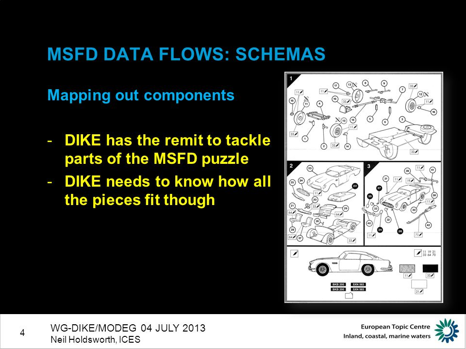 4 MSFD DATA FLOWS: SCHEMAS Mapping out components -DIKE has the remit to tackle parts of the MSFD puzzle -DIKE needs to know how all the pieces fit th