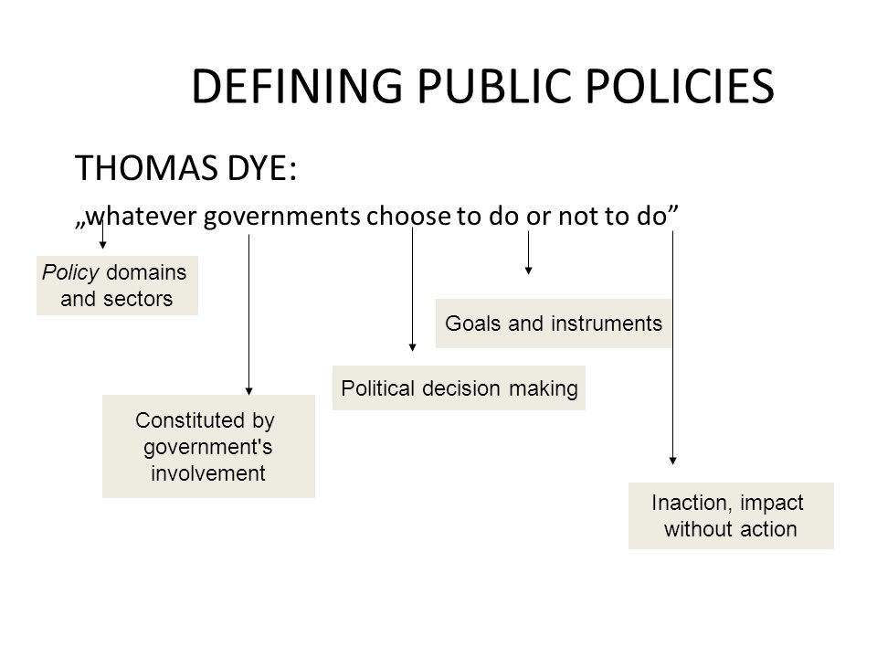 DEFINING PUBLIC POLICIES Public policy may:: Regulate behavior Organize administration and partnership for service provision Distribute benefits or extract taxes Inform and educate POLICY INSTRUMENTS SUBSTANTIVE AREAS:  Defense  Energy  Environment  Foreign affairs  Education  Welfare  Health  Education  Economic opportunity ........