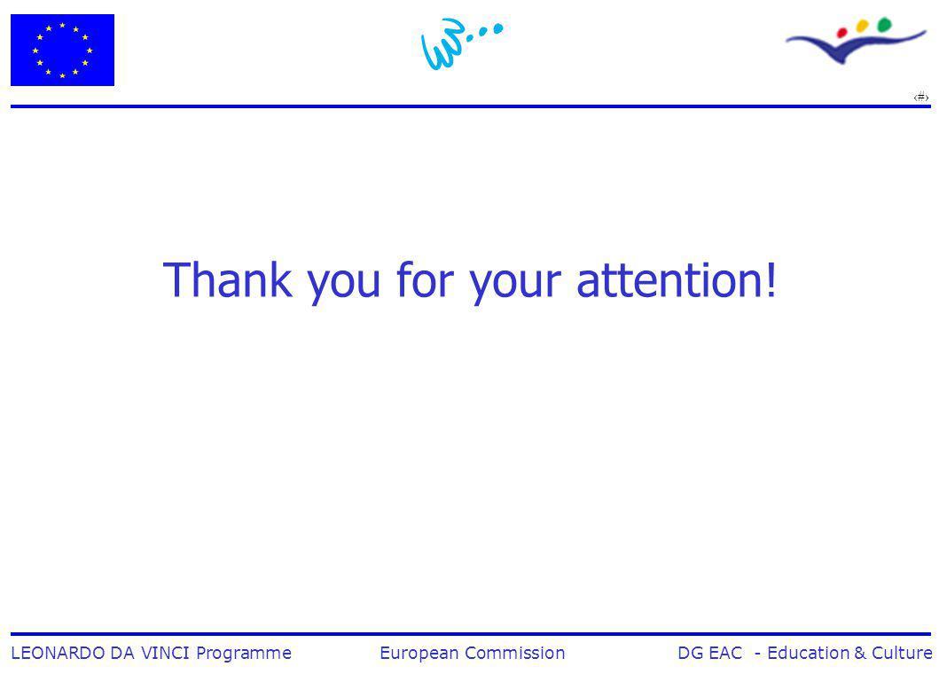 20 LEONARDO DA VINCI Programme European Commission DG EAC - Education & Culture Thank you for your attention!
