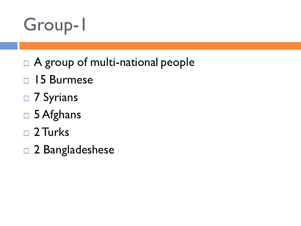 Group-1  A group of multi-national people  15 Burmese  7 Syrians  5 Afghans  2 Turks  2 Bangladeshese