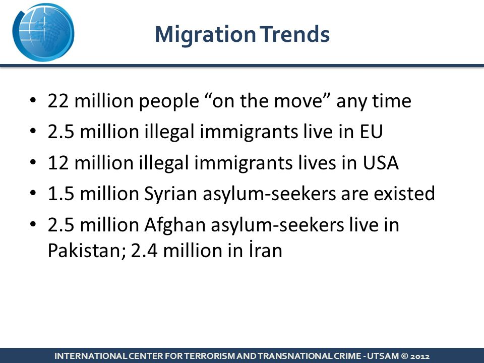 "22 million people ""on the move"" any time 2.5 million illegal immigrants live in EU 12 million illegal immigrants lives in USA 1.5 million Syrian asylu"