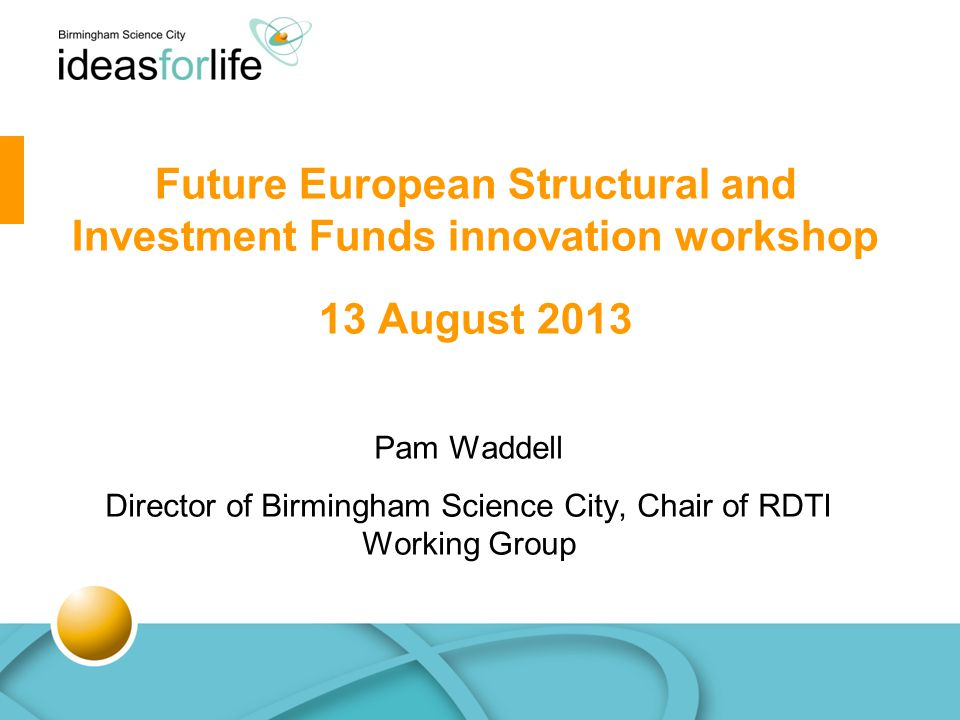 Pam Waddell Director of Birmingham Science City, Chair of RDTI Working Group Future European Structural and Investment Funds innovation workshop 13 August 2013