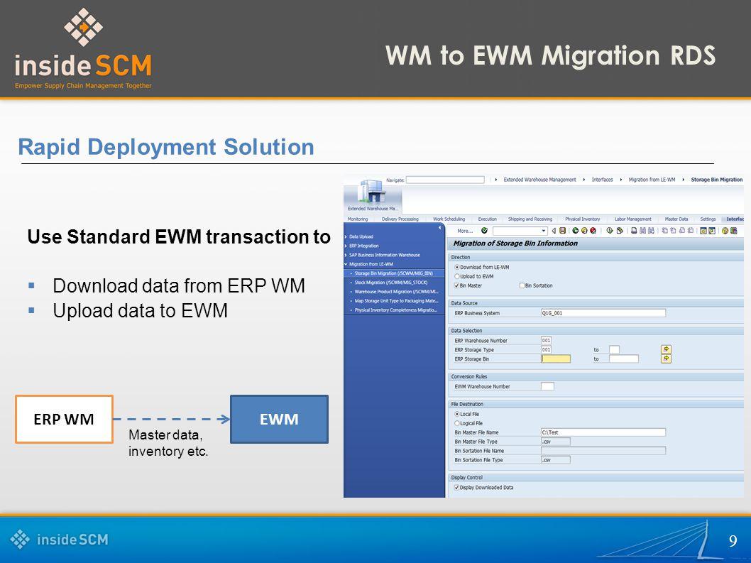 9 Rapid Deployment Solution Use Standard EWM transaction to  Download data from ERP WM  Upload data to EWM WM to EWM Migration RDS ERP WM EWM Master data, inventory etc.