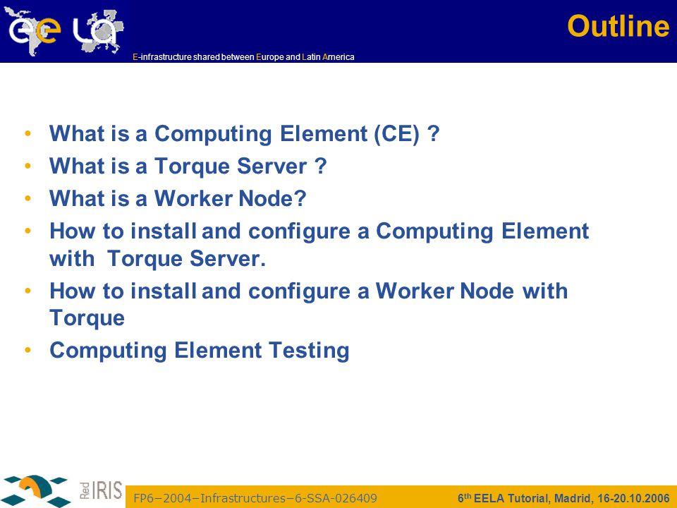 FP6−2004−Infrastructures−6-SSA-026409 E-infrastructure shared between Europe and Latin America 6 th EELA Tutorial, Madrid, 16-20.10.2006 Installing WN Server Install the node /opt/glite/yaim/scripts/gilda_ig-install_node /root/my- site-info.def GILDA_ig_WN_torque_noapp Configure the node /opt/glite/yaim/scripts/gilda_ig-configure_node /root/my-site-info.def GILDA_ig_WN_torque_noapp