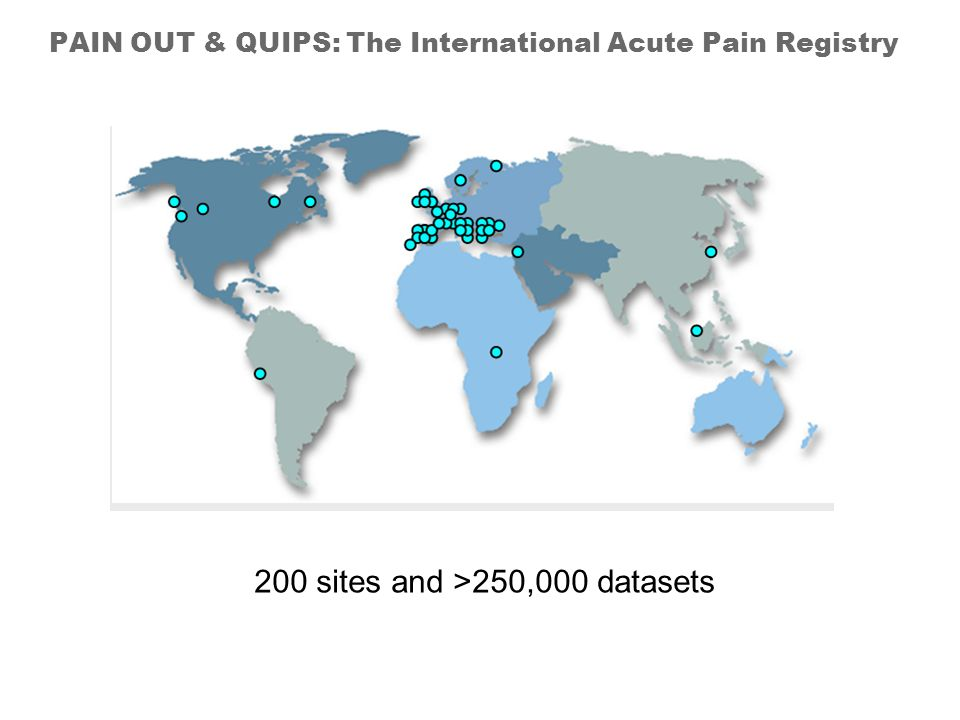 PAIN OUT & QUIPS: The International Acute Pain Registry 200 sites and >250,000 datasets