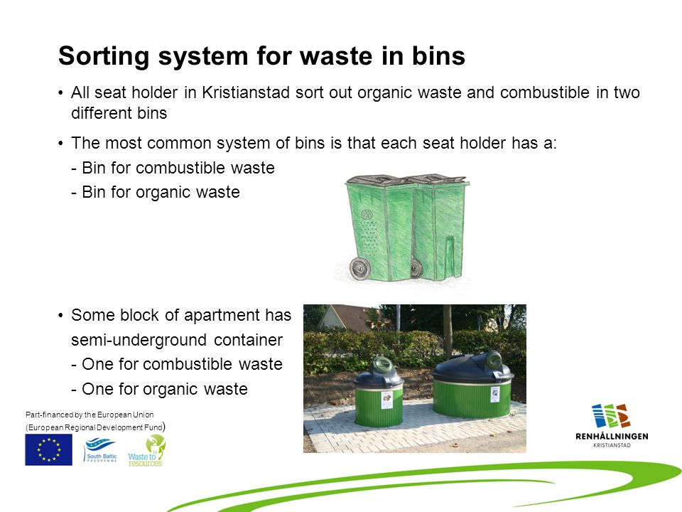 All seat holder in Kristianstad sort out organic waste and combustible in two different bins The most common system of bins is that each seat holder has a: - Bin for combustible waste - Bin for organic waste Some block of apartment has semi-underground container - One for combustible waste - One for organic waste Sorting system for waste in bins Part-financed by the European Union (European Regional Development Fund )