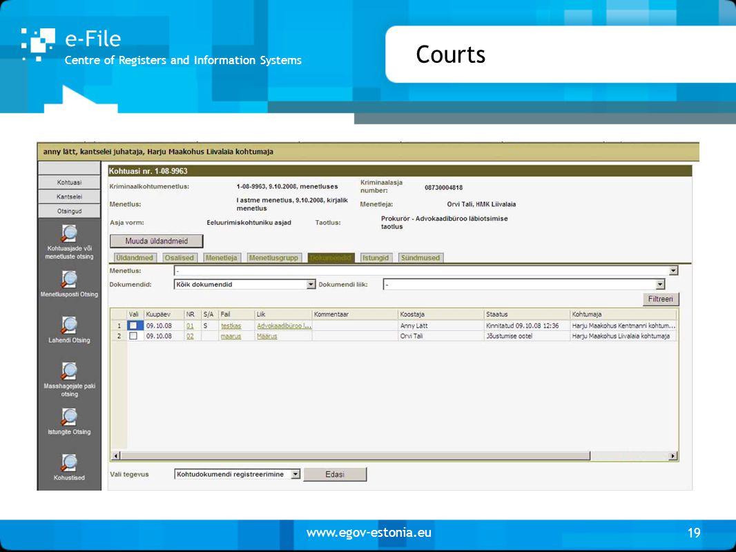 www.egov-estonia.eu Courts 19 Centre of Registers and Information Systems e-File