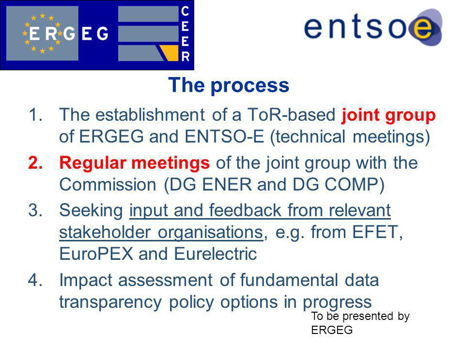 The process 1.The establishment of a ToR-based joint group of ERGEG and ENTSO-E (technical meetings) 2.Regular meetings of the joint group with the Commission (DG ENER and DG COMP) 3.Seeking input and feedback from relevant stakeholder organisations, e.g.