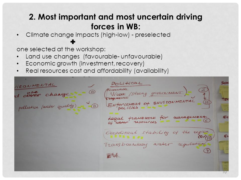 10 2. Most important and most uncertain driving forces in WB: Climate change impacts (high-low) - preselected  one selected at the workshop: Land use