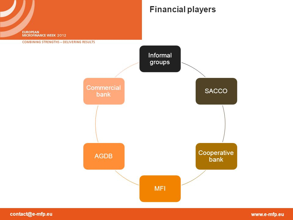 contact@e-mfp.eu www.e-mfp.eu Financial players Informal groups SACCO Cooperative bank MFIAGDB Commercial bank