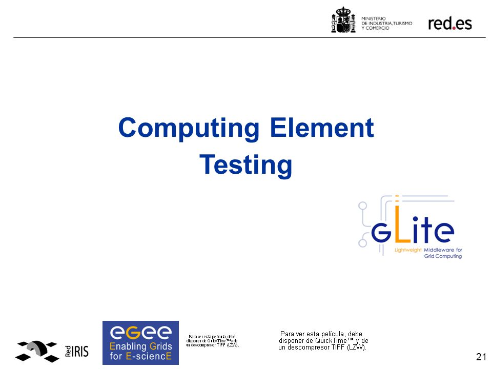 21 Computing Element Testing
