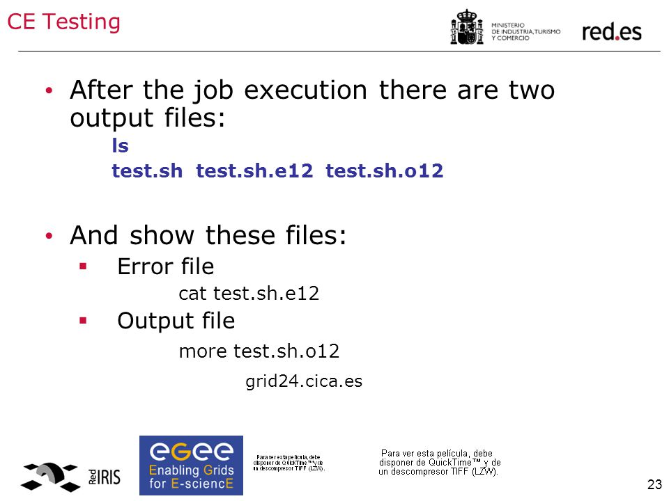 23 CE Testing After the job execution there are two output files: ls test.sh test.sh.e12 test.sh.o12 And show these files:  Error file cat test.sh.e1
