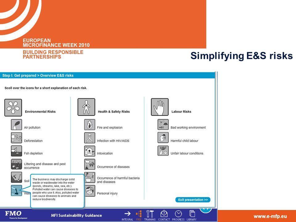 contact@e-mfp.eu www.e-mfp.eu Simplifying E&S risks