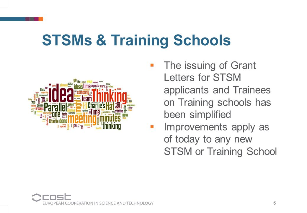 6 STSMs & Training Schools   The issuing of Grant Letters for STSM applicants and Trainees on Training schools has been simplified   Improvements apply as of today to any new STSM or Training School